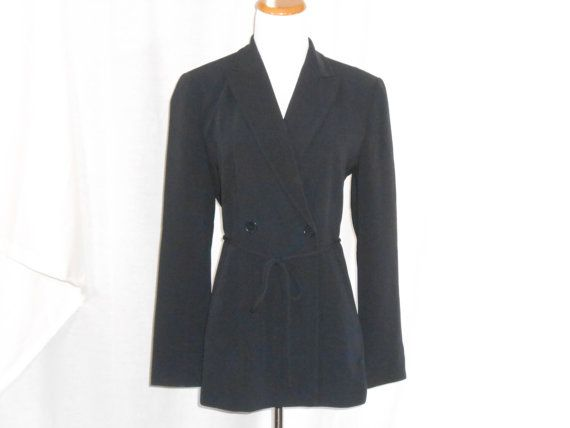 Womens Blazer Jacket Ann Taylor Dark Blue Blazer by ZasuVintage