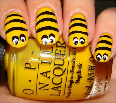 step by step Simple Do Yourself Nail Designs | Nail Art Tutorial: Bee Nails | Swatch And Learn