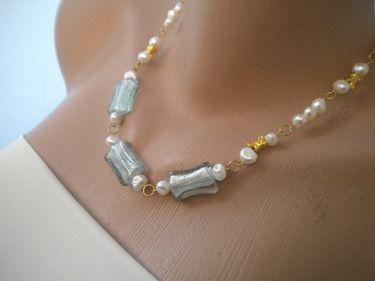 BUTTERFLY Brautjungfer Süßwasser Perlenkette