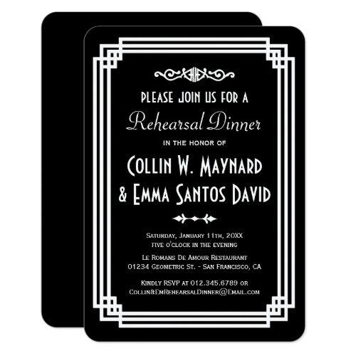 Vintage Wedding Rehearsal Dinner Simple Black & White Art Deco Rehearsal Dinner Card
