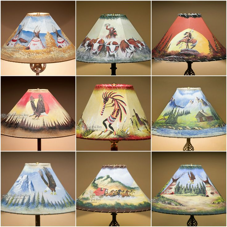 Rustic Painted Rawhide Lamp Shades For Southwest