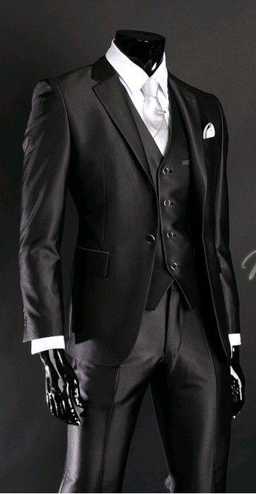 2016 Newest Groom Tuxedo Groomsmen Shiny Black Wedding/Dinner/Evening Suits…