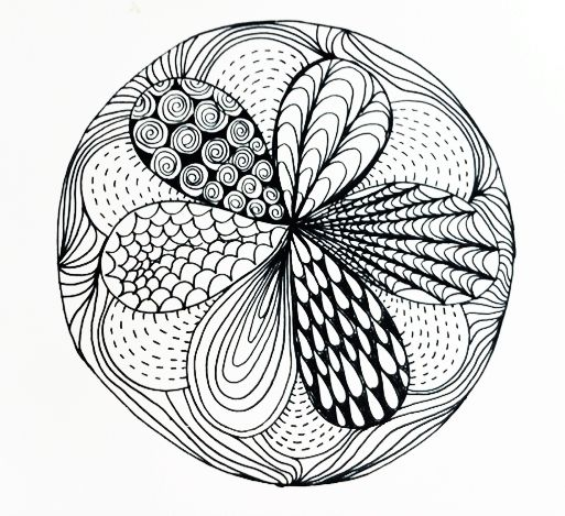 I convinced Baby T that his didn't have to look like a flower, and we set out to finish our zentangle. The first step, which he had already completed, ...