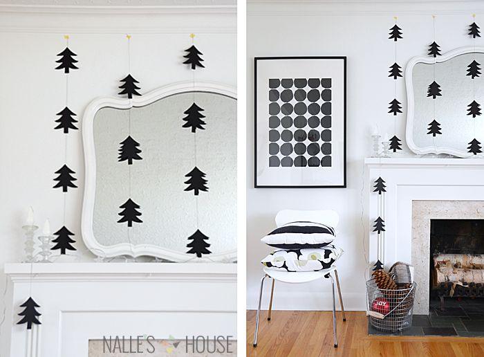 Diy Modern Paper Tree Garlands Black And White
