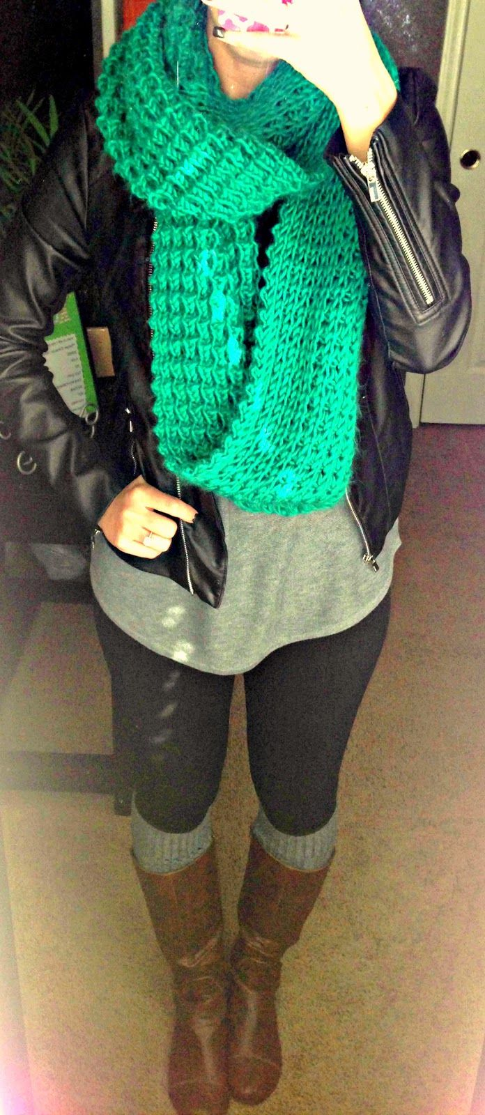 leather jacket with infinity scarf