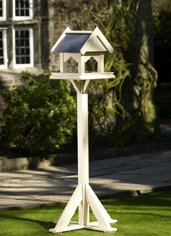 Painted Wooden Bird Table from Posh Garden Furniture. Handmade with natural slate roof.