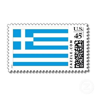 greek flag postage stamp