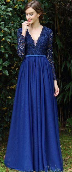 eDressit Long Sleeves Blue Plunging V Neck Lace Dress