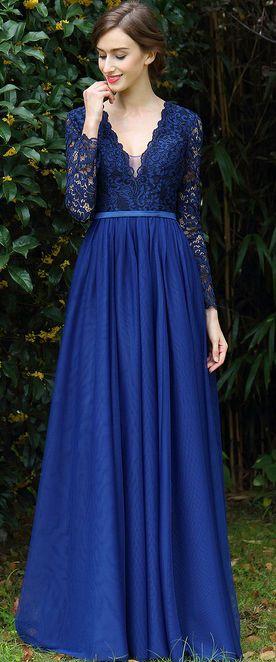 eDressit Long Sleeves Blue Plunging V Neck Lace Dress