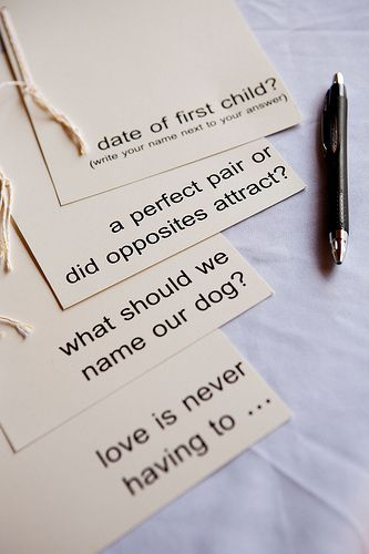 Leave out advice cards near the guestbook or on the dinner tables.