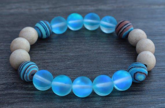 Gemstone Blue Women Stretch Bracelet Blue Aventurine Bracelet for Women Matching blue Earrings Blue Beaded Bracelets Gift for her