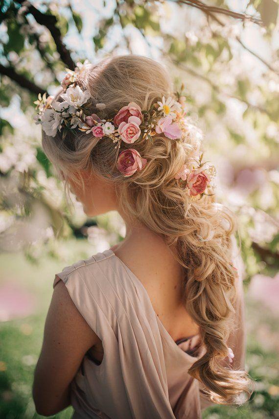Acessório de cabelo romântico floral rosa branca flor casamento  – Haare