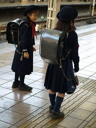 The Japanese school uniform - love the backpack!!!   Japan   Pinterest