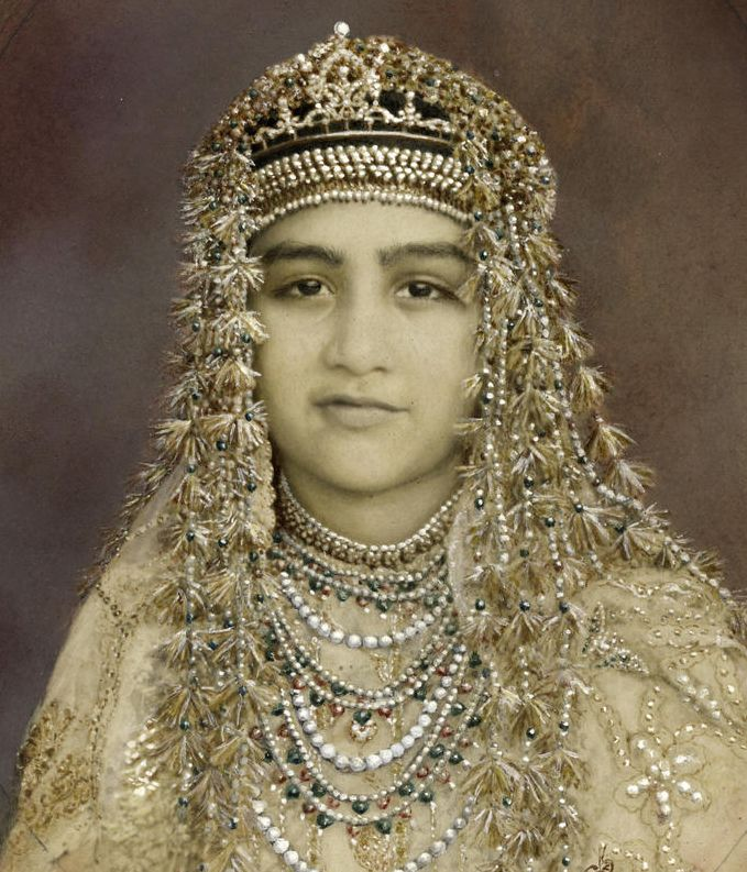 Princess Abida Sultan of Bhopal - hand-painted photograph, 1921
