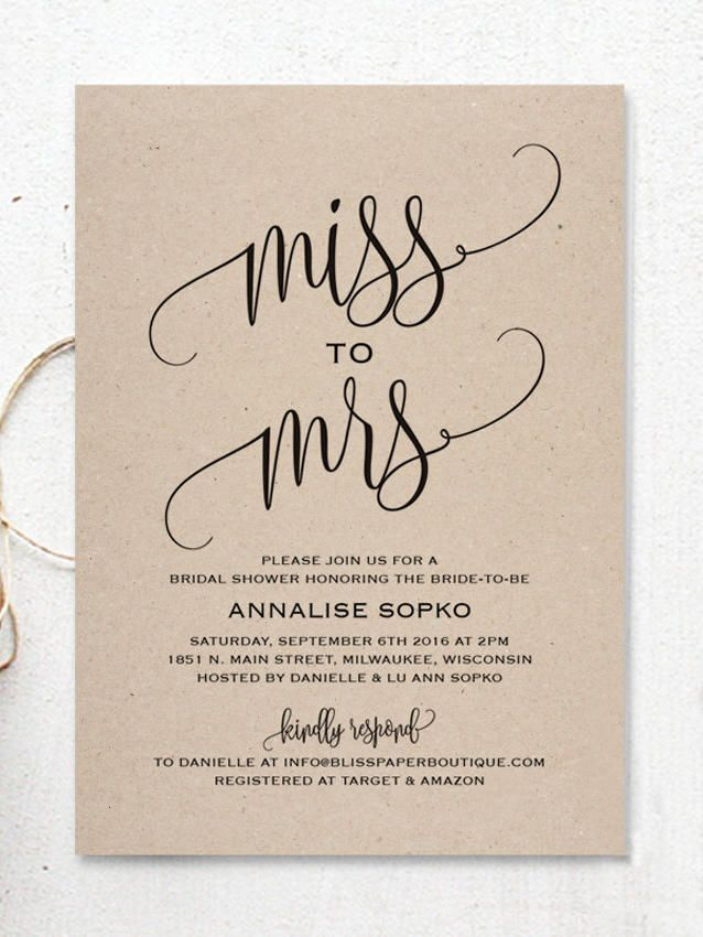 "These DIY bridal shower invitations with rustic template printables boast black calligraphed ""from Miss to Mrs"" script for an elevated look."