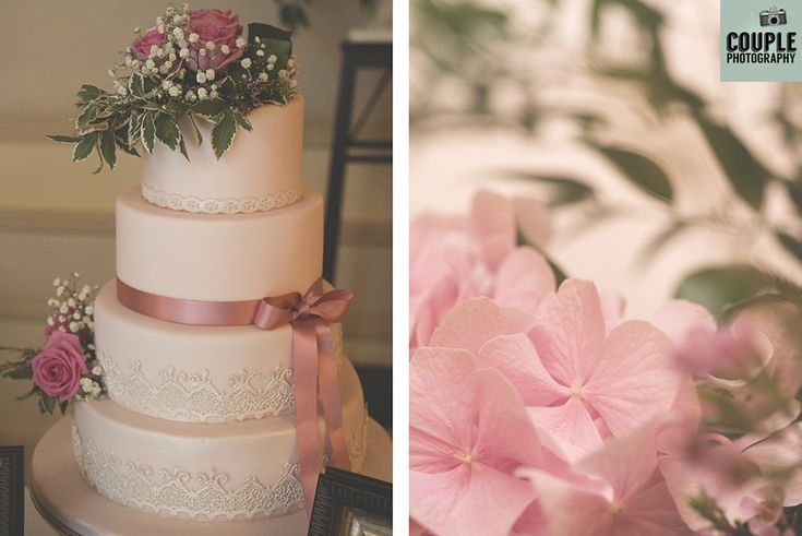 The wedding cake decorated with a touch of pink. eddings at Cabra Castle by Couple Photography.