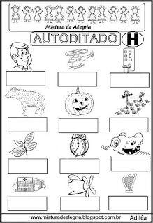 Autoditado para alfabetização com a letra H