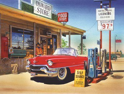 Onward Store Gas Station (500 Piece Puzzle by SunsOut) SIMPLE PASTIMES PUZZLES