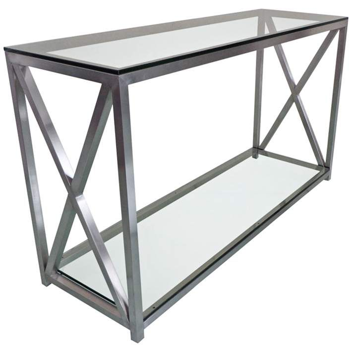 X Factor 47 Wide Glass And Stainless Steel Console Table 9h459 Lamps Plus Modern Console Tables Console Table Styling Console Table