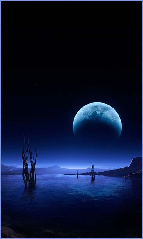 Fantasy View with Big Round Moon - Landscape Wallpapers Details