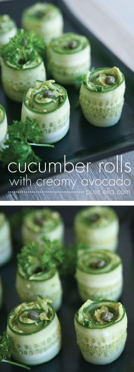 cucumber rolls with creamy avocado
