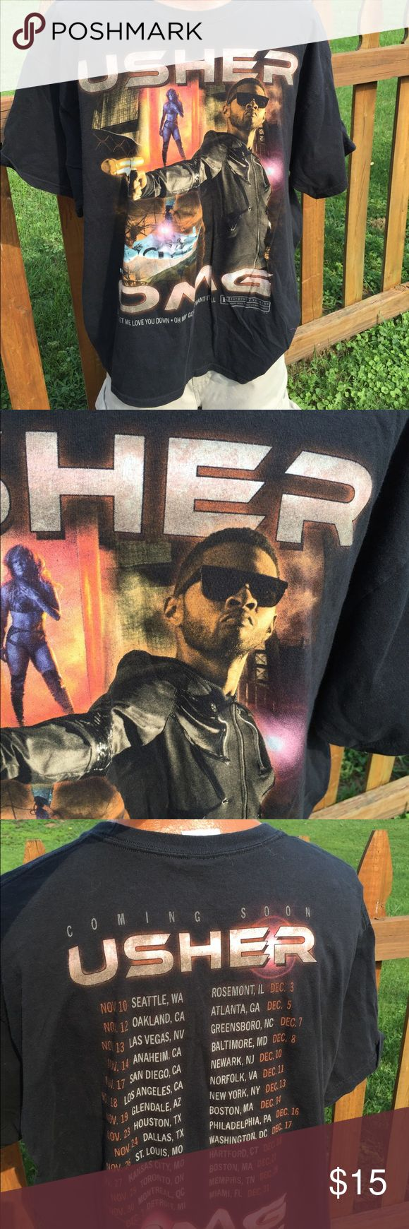 Usher OMG Concert Tour Shirt Size XXL Size XXL. Gently preowned. Be sure to view the other items in our closet. We offer  women's, Mens and kids items in a variety of sizes. Bundle and save!! We love reasonable offers!! Thank you for viewing our item!! Hanes Shirts Tees - Short Sleeve