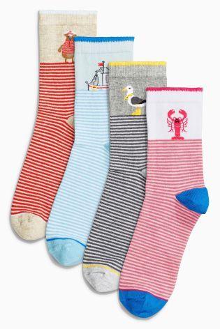Red/Navy/White Seaside Motif Ankle Socks Four Pack