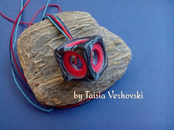 Pendant cube with polymer clay