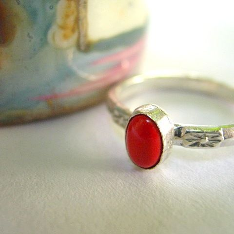 Vanda - korall és ezüst gyűrű, Ékszer, óra, Gyűrű, Meska / Silver and Coral Ring - metric size: 52, US size: 6 1/4