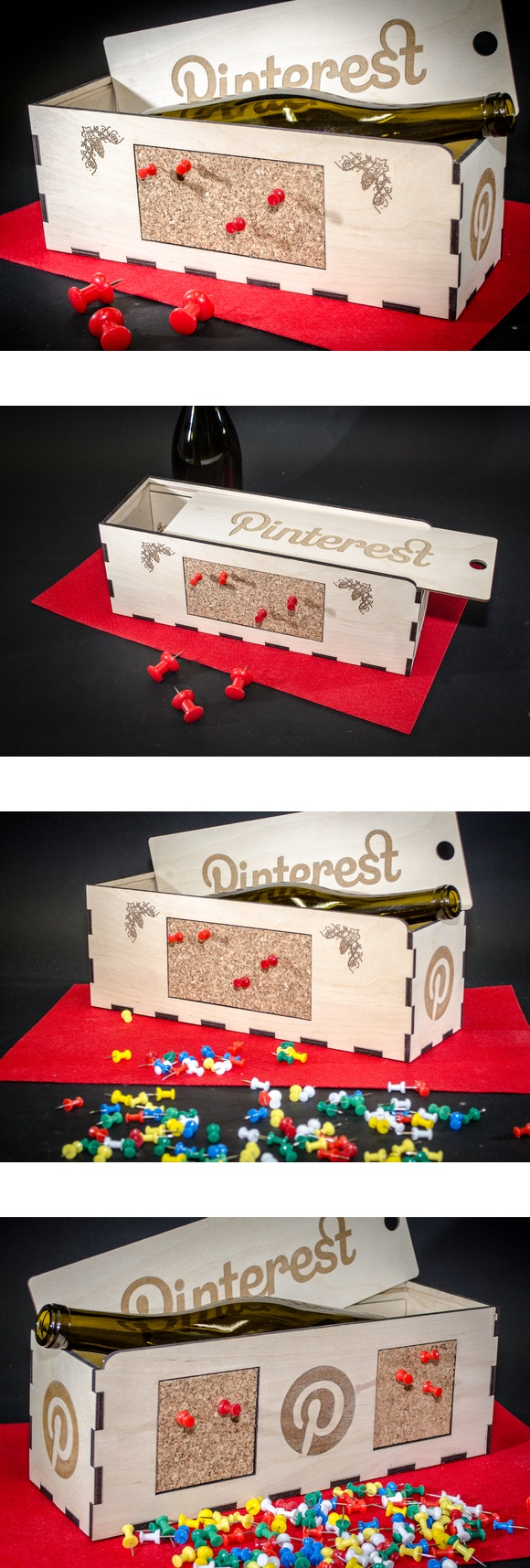 The WOOD WINE BOX that thinks it's a PINBOARD.... Personalized Wine Boxes thinks OUTSIDE the box for one-of-a-kind wine gift boxes - please rePIN for your next celebration gift, from $45 plus shipping