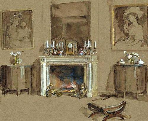 19th CWalter Gay(American, 1856-1937) ~Feu de cheminée dans un intérieur [Fire in an Interior][detail]