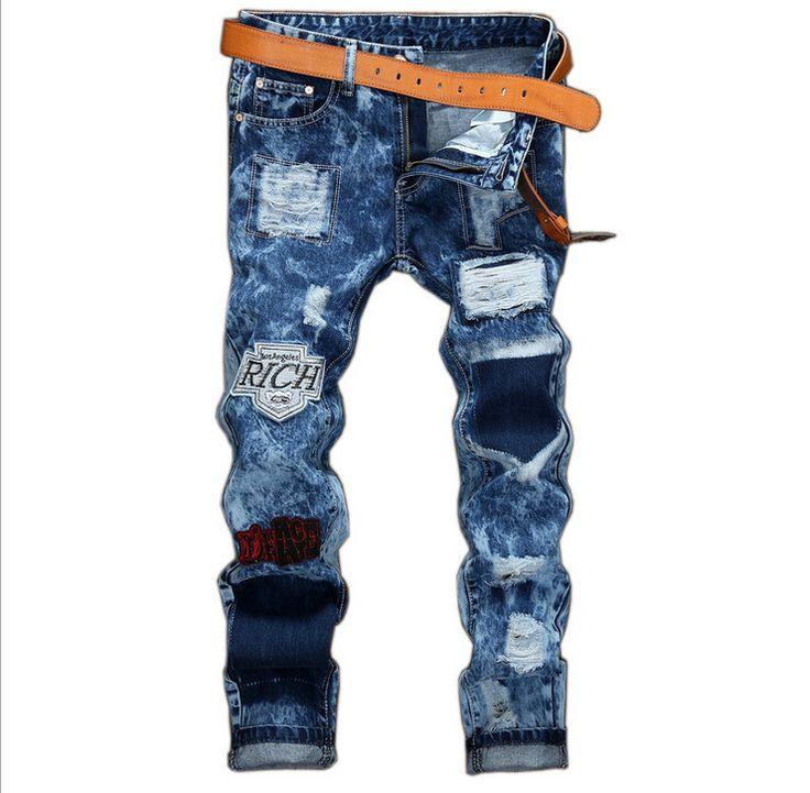 GMANCL men's biker jeans Design Fashion Biker Runway Hip Hop Slim Jeans For Men Ripped Rap Cotton Good Quality Motorcycle Jeans