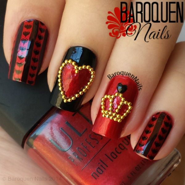 "baroquennails: ""Alice In Wonderland Nail Art - The Queen Of Hearts  Colors used: • Ulta – Metallic Red • Kleancolor – Black Image Plate: • MoYou Tourist Collection 07 Shop 