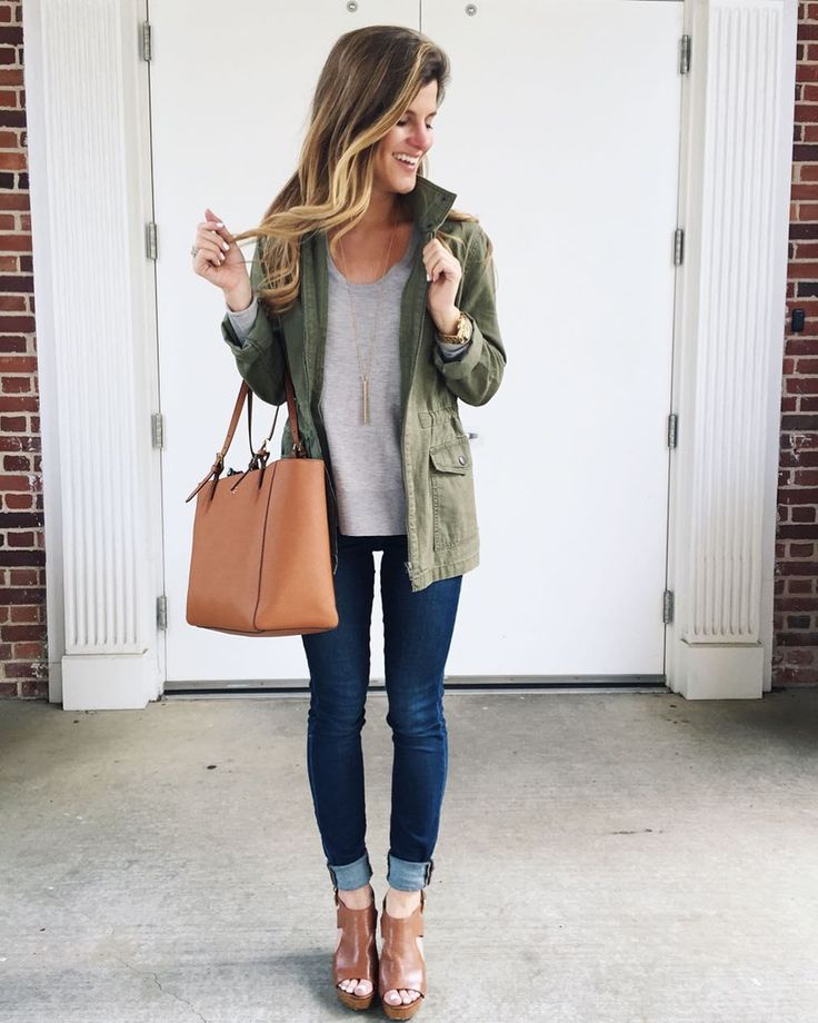 @brightonkeller #OOTD wearing grey sweater utility jacket blue jeans and cognac wedges // military jacket outfit // fall outfit ideas // peep toe booties // cognac wedges // rolled up jeans // utility jacket outfit // transitional outfit idea
