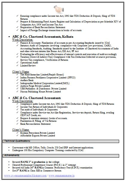 Chartered Accountant Resume Format Freshers (Page 2) CV examples - resume format for accountant