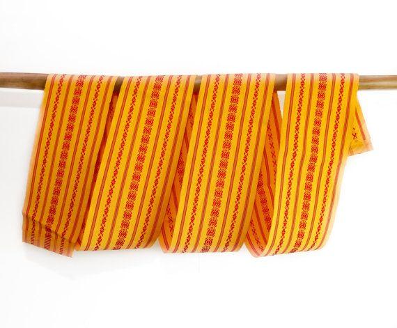 Hanhaba Obi Japanese Vintage Yellow Kimono Accessory by CJSTonbo