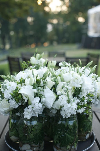 Pretty white flowers as center pieces