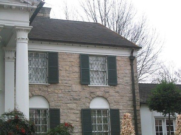 Here's Elvis' room (top floor windows) from outside (Graceland)
