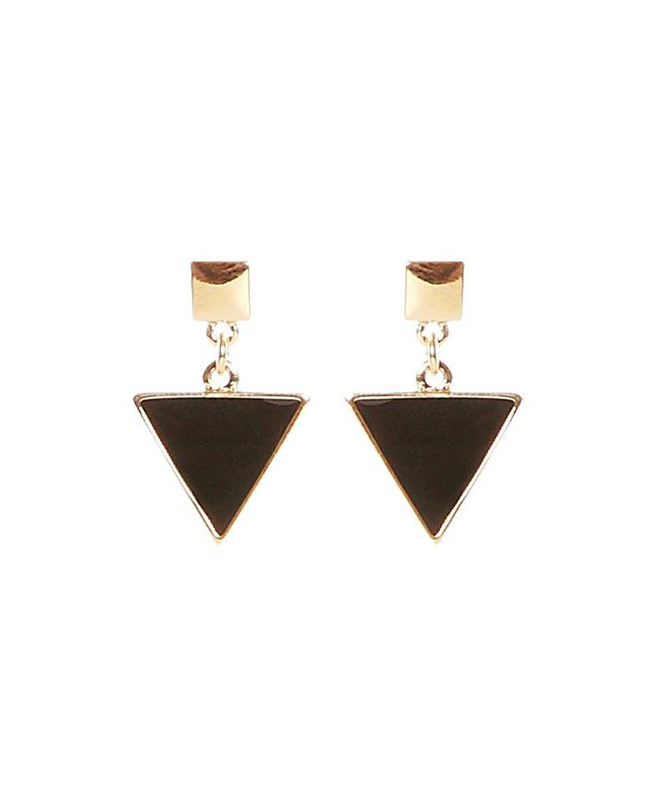 Coppia di #orecchini con pendenti rettangolari color nero