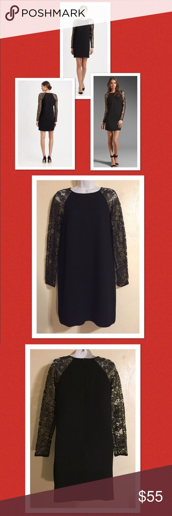 """Tibi Foil Lace Black Cocktail Dress Sz 4 This is a gorgeous dress. The black portion of the dress is lined. I must let you know that there are some light deodorant marks under each armpit but it does not look bad at all & you can't see them with the dress on. I unfortunately get deodorant under the arms of all my black dresses . I tried to clean the area best I could. There are no odors. Please see photos for fabric content & care. Approximate measurements laying flat: Armpit to armpit 18""""…"""