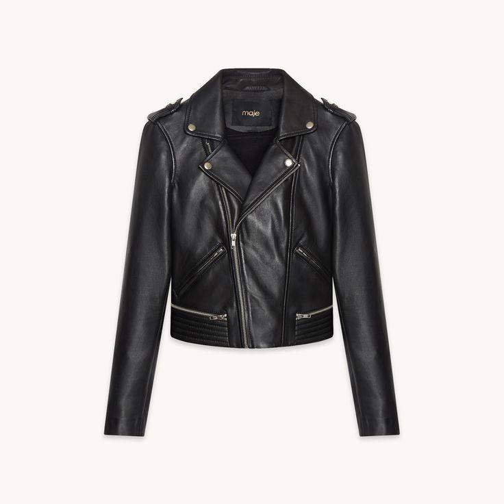 Maje BASALT leather jacket; black