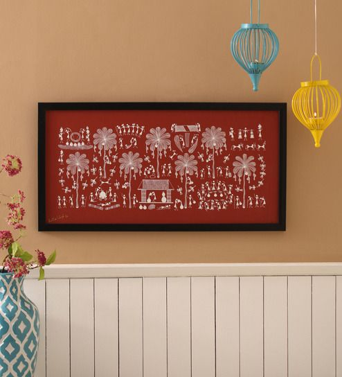 Manomay Kreations Canvas 12 x 2 x 24 Inch Seven Trees of Toddy Framed Warli Painting
