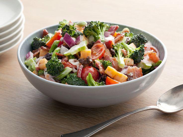 Broccoli Salad:  broccoli, cooked bacon, red onion, sharp Cheddar, mayonnaise, sugar, cherry tomatoes