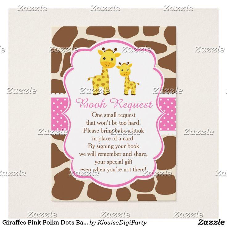Giraffes Pink Polka Dots Baby Shower Book Request Business Card