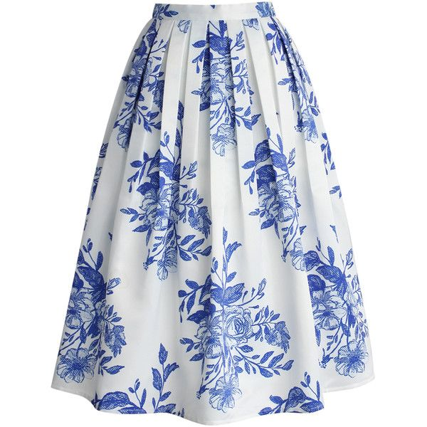 Chicwish Blue Floral Sketch Pleated Midi Skirt found on Polyvore featuring polyvore, fashion, clothing, skirts, bottoms, white, blue skirt, midi skirt, mid calf skirt and blue pleated skirt