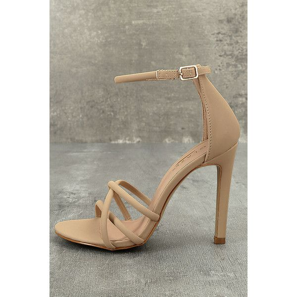 Michella Nude Nubuck Ankle Strap Heels ($33) ❤ liked on Polyvore featuring shoes, pumps, beige, peep-toe pumps, ankle wrap pumps, beige pumps, peeptoe shoes and peep-toe shoes