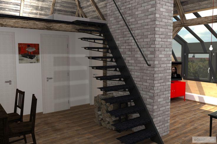 ...pro tento prostor bylo potřeba navrhnout i originální schodiště. www.ockodesign.cz
