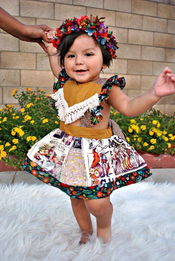 0ccb2dae81af3 Calavera Mexican Toddler dress, Fiesta Baby Dress, Dia de los ...