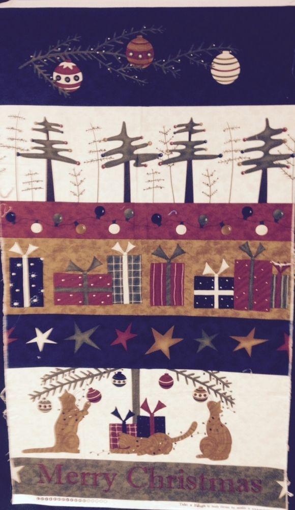 Take A Bough Sandy Gervais Moda Fabric Panel Christmas Cat