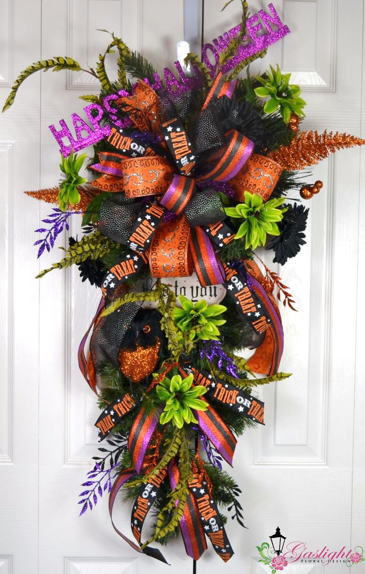 Wreath Design Ideas best 25 wreath ideas ideas on pinterest diy wreath hanger diy wreath and holiday wreaths Happy Halloween Teardrop Swag Wreath By Gaslight Floral Design Httpgaslightfloraldesign
